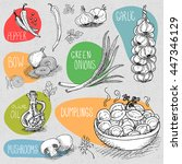 set of stickers in sketch style ... | Shutterstock .eps vector #447346129