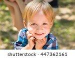 Portrait Of Blonde Little Boy...