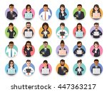group of connecting businessman ... | Shutterstock .eps vector #447363217