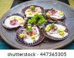fresh scallops peruvian style | Shutterstock . vector #447365305