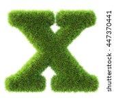alphabet made from green grass. ... | Shutterstock . vector #447370441