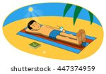 illustration of man sunbathing ... | Shutterstock . vector #447374959