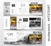 vector set of tri fold... | Shutterstock .eps vector #447375397
