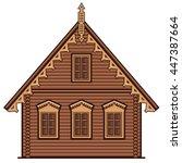 flat style brown single family... | Shutterstock .eps vector #447387664