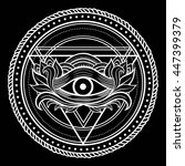 blackwork dotwork tattoo. eye... | Shutterstock .eps vector #447399379