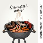 vector sausage on grill | Shutterstock .eps vector #447405037