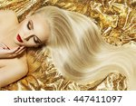 Fashion Model Gold Color Hair...