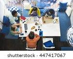 friends meeting talking... | Shutterstock . vector #447417067