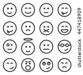 set of outline emoticons  emoji ... | Shutterstock .eps vector #447418909