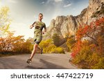 athletic young man running in... | Shutterstock . vector #447422719