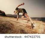 young man runner running on a... | Shutterstock . vector #447422731