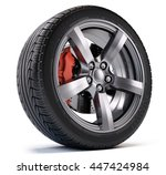 car wheel with breke disc and... | Shutterstock . vector #447424984