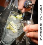 soda and alcohol drinks being... | Shutterstock . vector #447426835