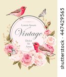 vintage card with nightingale | Shutterstock .eps vector #447429565