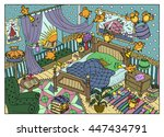 colorful drawing with naughty... | Shutterstock .eps vector #447434791