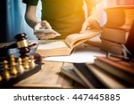 young man lawyer consulting... | Shutterstock . vector #447445885