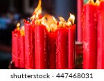 Red Candle In Chinese Temple