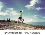 healthy young woman trail... | Shutterstock . vector #447480001