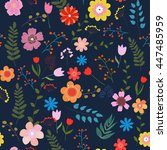 illustration of floral seamless.... | Shutterstock . vector #447485959