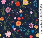 illustration of floral seamless.... | Shutterstock . vector #447485959