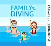 divers father mother son.... | Shutterstock .eps vector #447494995