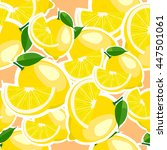 pattern with lemon and leaves