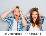 portrait of surprised man and... | Shutterstock . vector #447506845