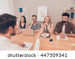 young man in the interview... | Shutterstock . vector #447509341