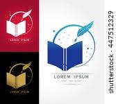 set of library book logo ... | Shutterstock .eps vector #447512329