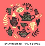 tea party handsketched doodle... | Shutterstock .eps vector #447514981