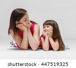 mother with daughter portrait...   Shutterstock . vector #447519325