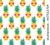 seamless pattern with smiling... | Shutterstock .eps vector #447522709