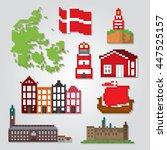 denmark icons set. pixel art.... | Shutterstock .eps vector #447525157