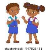 boy and girl with backpacks... | Shutterstock . vector #447528451