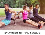 group of four male and female... | Shutterstock . vector #447530071