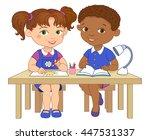 funny pupils sit on desks read...   Shutterstock . vector #447531337