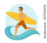 man surfer running with... | Shutterstock .eps vector #447531991