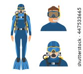 Scuba Diver Man In Wetsuit In...
