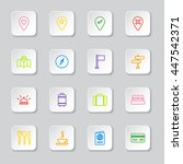 colorful line travel icon set...