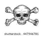 jolly roger. hand drawn human... | Shutterstock .eps vector #447546781