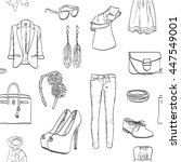 a set of women's clothing and... | Shutterstock .eps vector #447549001