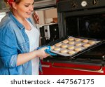 woman making macarons in the... | Shutterstock . vector #447567175
