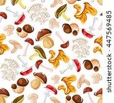 forest mushrooms seamless... | Shutterstock .eps vector #447569485