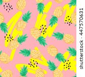 seamless pattern with pineapple ... | Shutterstock . vector #447570631