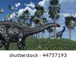 3D rendered prehistoric landscape featuring an apatosaurus dinosaur in the foreground, and a brachiosaurus at a distance. - stock photo