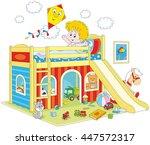boy waking up in his bedroom   Shutterstock .eps vector #447572317