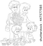 happy family together | Shutterstock .eps vector #447577585