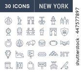 set vector line icons in flat... | Shutterstock .eps vector #447577897