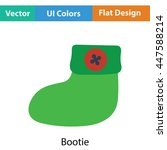 baby bootie icon. flat color...