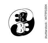 two kittens  black and white ...   Shutterstock .eps vector #447591004